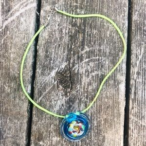 Artisan Blown Glass Blue Swirl Pendant Necklace